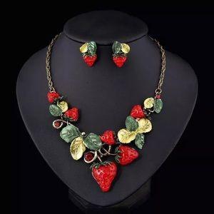 Jewelry - Strawberry 2 pc set - pierced earrings + necklace